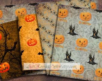 Wrapping Paper Halloween Background Digital Scrapbook Paper Digital Background Digital Download Pumpkin Digital Collage Sheet Pumpkin Paper