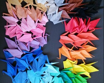 100 Large origami paper cranes - 20 colors - great for weddings, parties