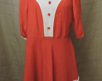 1173 - Vintage Square Dance Dress Size S Red White Cotton 3/4 Sleeve 1947-64 Repurpose