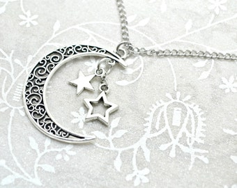 Crescent Moon Necklace, Moon Necklace, Moon Pendant, Moon Jewelry, Crescent Moon Jewelry, Boho Necklace, Hipster Necklace, Star Necklace
