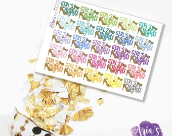 Girl's Night - Fun Colorful Words, Quote, Ladies Heels - 25 stickers, 1 sheet - Perfect for use in any planners such as ECLP