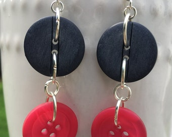 Gray and Pink Button Earrings