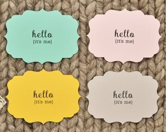 Hello, It's Me Note Cards - Set of 4 Flat Note Cards - Blank Notecards - Blank Note Cards - Flat Notecards - Adele Cards