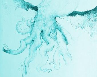 Prints, Octopus Art, Wall Art Prints, Octopus Drawing, Sealife Print, Art Print, Wall Art, Ocean Art, Marine Art, Nautical Art, Octopus