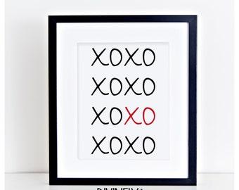 Digital Download//xoxo Printable//Valentine's Day Printable//5x7//8x10