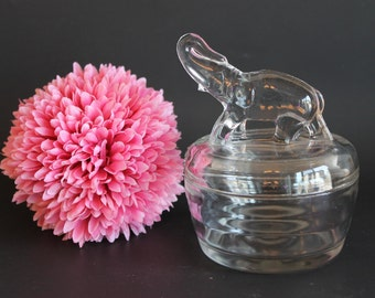 Jeannette Clear Elephant Powder Jar