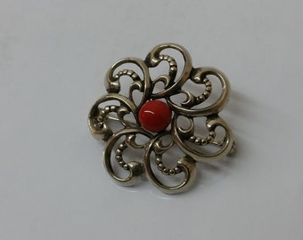 Antique brooch coral silver 835 traditional jewellery SB210