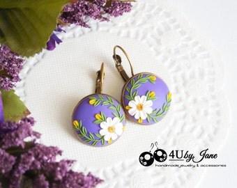 Vintage Earrings, Brass Earrings, Polymer Clay Flower Earrings, Purple Wedding Jewelry, Flower Embroidery, Rustic Wedding, Vintage Style