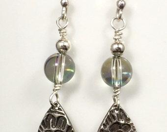 Fine Silver & Crystal Earrings / Precious Metal Clay Jewelry / Swarovski Crystal Jewelry - Item FSC021015