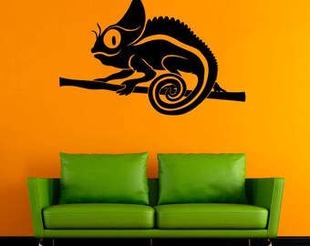 Chameleon Vinyl Decal Chameleon Wall Sticker Animals Vinyl Decals Wall Vinyl Decor /4krq/