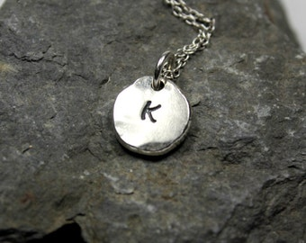 Personalized Pebble Necklace, Recycled Sterling Silver, Pebble Initial Necklace, Solid Sterling Silver, Initial Charm Necklace, Gift for Her