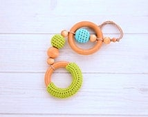 Baby Teething Toy - Wooden Teething Ring - Wooden Teething Toy - Wooden Baby Toys - Crochet Teething Ring - Baby Shower Gifts
