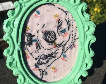 Skull Embroidery - framed