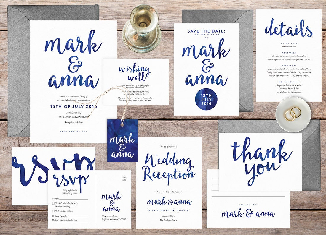 Navy wedding invitation set, Wedding invitation printable, Wedding set, Wedding details card, Wedding RSVP postcard, Wedding save the date