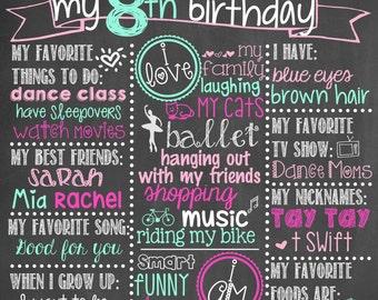 Girl Birthday Chalkboard / Custom Birthday Chalkboard / Birthday Chalkboard Sign Any Age / Girl Any Age Birthday Chalkboard / Digital File
