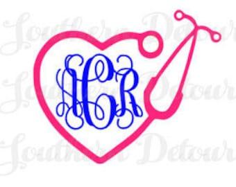 Heart Nursing/Stethoscope Monogram
