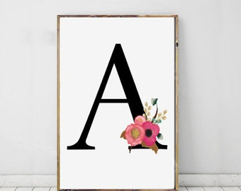 Initial Print, A Print, A Monogram Letter, Personalised Print, Digital Download, Instant Download, Printable Art
