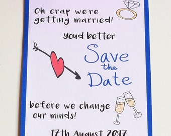 Funny Save the Date cards, Oh crap we're getting married, Humorous Save the Date Cards, Wedding, Marriage