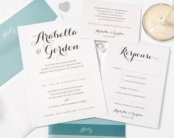 Teal wedding invitation set, sample set, pearlescent Invitation, Teal & Light Teal, Standard sample set, Byron, belly band, envelope liner