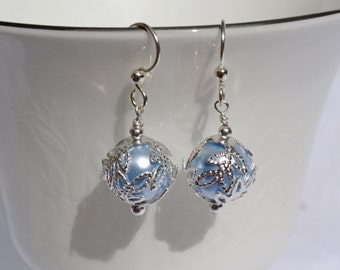 Light Blue Pearl and Willow Leaf Filigree Swarovski Earrings, Bridal Earrings, Gifts for Her