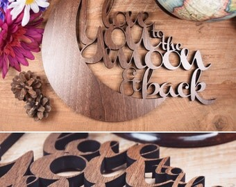 Love you to the moon and back plaque.