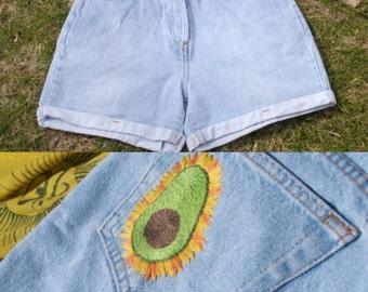 Hand Embroidered Avocado Highwaisted Shorts