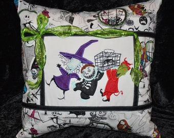 """New!  Large 20"""" x 20"""" Nightmare Before Christmas Embroidered Lock, Shock, & Barrel  Home Decorative Pillow"""