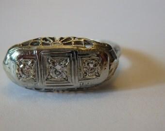 Antique, art deco 18k white gold 3 stone diamond ring, size 7 in antique box