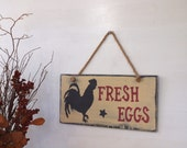 "Wood ""Fresh Eggs"" Sign with Rooster/Chicken – Distressed, Rustic Country, Primitive, Vintage Farmhouse Antique Decor"