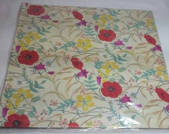 Flower Gift Wrap Wrapping Paper Vintage Image Craft Poppies Daisy Flowers