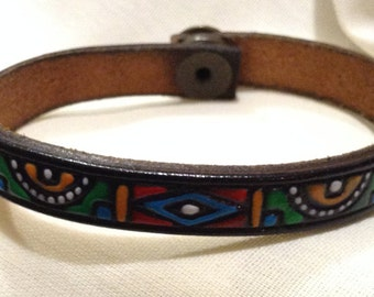"Vtg ""B L LEATHER Cuff"" Snap Leather Cuff Bracelet 12720"