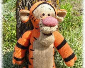Tigger toy Knitted toy Tiger Disney Dirthday gift Handmade toy Tiger art Striped friend Toy animal Gift to the child Big tiger Plush tiger