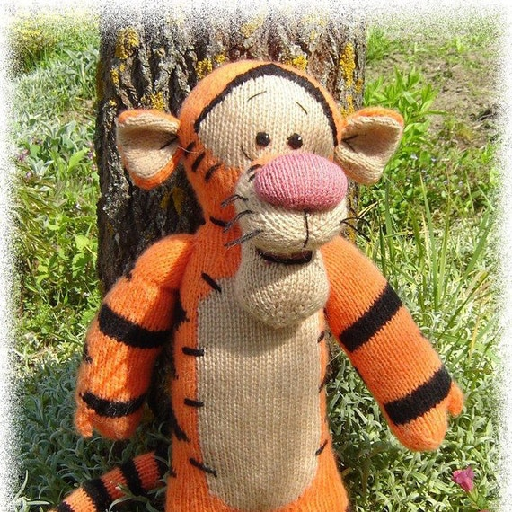 Knitting Patterns For Disney Toys : Tigger toy Knitted toy Tiger Disney Dirthday gift Handmade toy