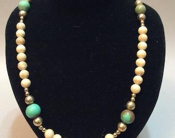 Judie Ingram Gold Tone Alabaster and Turquoise Necklace
