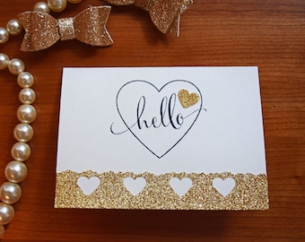 Greeting Card, Hello Card, Hello Greeting Card, Handmade Card, Handmade Greeting Card, Glitter Greeting Card, Hearts Greeting Card