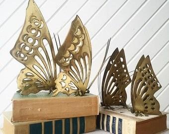 Vintage Set of Brass Butterflies