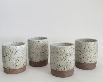 Hand-thrown White Speckled Tumblers