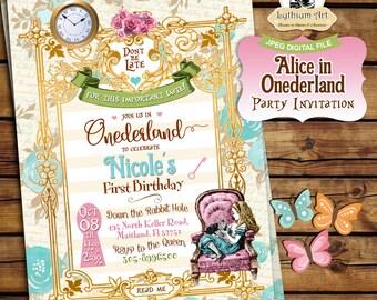 Alice in Onederland Invitation - Alice in Wonderland Invitation - Free Thank You Card - Alice in Wonderland 1st Birthday Invitation