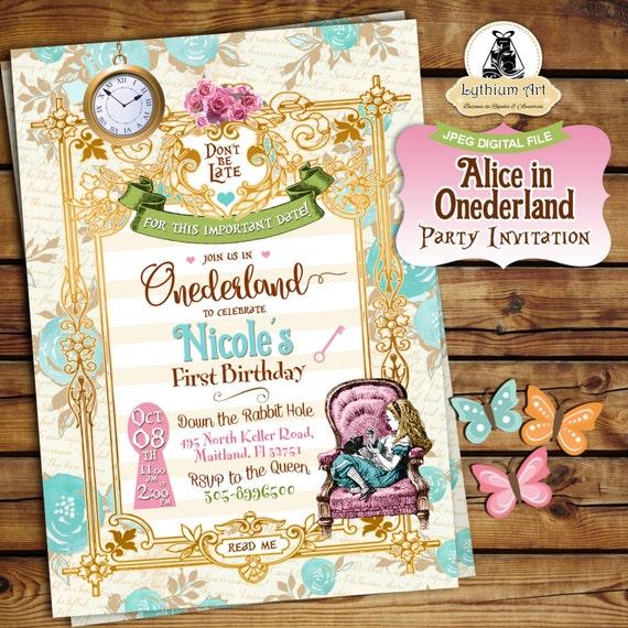 Alice In Onederland Invitation Alice In Wonderland