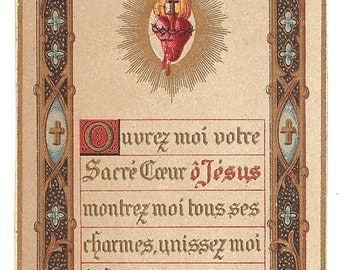 Sacred Heart Illuminated Antique French Holy Prayer Card, Catholic Gift, Sweet Heart of Mary Be My Salvation