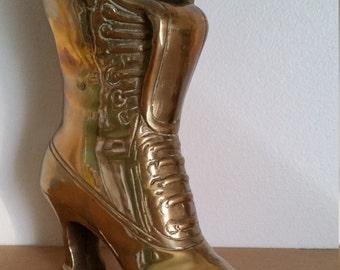 A Wonderful Vintage Ladies Brass Boot Ornament - Victorian Ladies Vintage Brass Lace Up Boot Ornament. Victorian Ladies Brass Boot