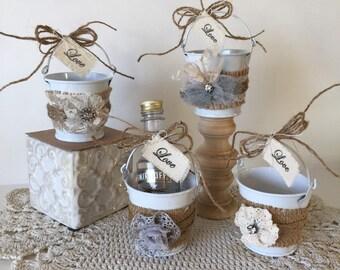 Wedding Favors, Burlap Wedding Favors, Personalized Wedding Favors, Personalized Shot Favors, Lace Wedding Favor, Personalized Shot Pails