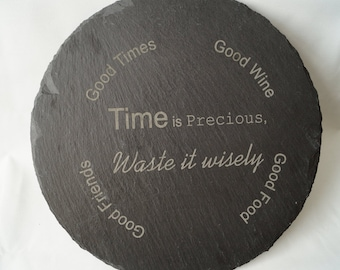 personalised slate cheese board, slate chopping board, anniversary gift, time is precious, slate board, mothers day gift