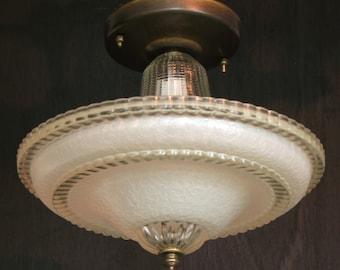 Vintage Lighting: 1930s-1940s single bulb centre post ceiling light