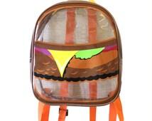 Transparent PVC Vinyl Burger Backpack