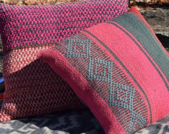 Sage and Camu Camu Pillow Cover  - One of a Kind, Hand Woven, Hand Dyed