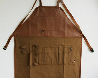 canvas and leather apron / work apron / utility apron /