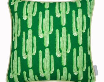 Cactus cushion with light green piping