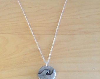 Sterling silver chain necklace with wave pendant