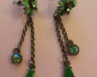 Vintage Enamel Drop Earrings, Green Enamel Flower Earrings